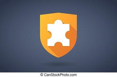 escudo, quebra-cabeça, longo, sombra, pedaço, ícone