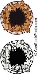 escudo, quebrar, madeira, através, fundo, buraco