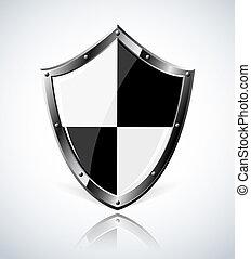 escudo, reflexão, prata
