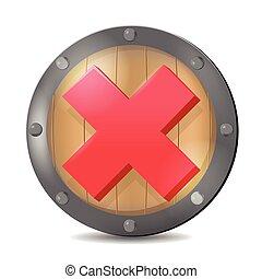 escudo, símbolo, marca, vetorial, cheque, vermelho