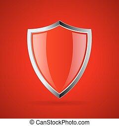 escudo, seguro, vermelho, ícone