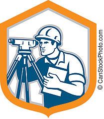 escudo, theodolite, agrimensor, geodetic, levantamento, retro, engenheiro