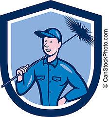 escudo, trabalhador, caricatura, varredura chaminé