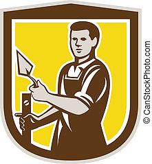 escudo, trabalhador, trowel, pedreiro, retro, alvenaria