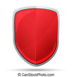escudo, vermelho, ícone