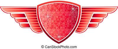 escudo, vermelho, asas