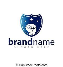 escudo, vetorial, punho, logotipo, ícone, modelo