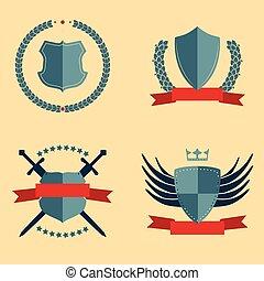 escudos, -, heraldic, projete elementos