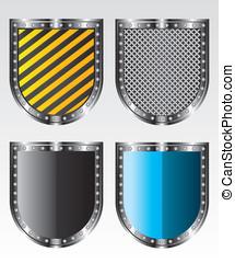 escudos, ilustração, ícones