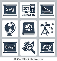 escuela, álgebra, geometría, iconos, ecología, biología, astronomía, vector, física, geografía, química, ict, temas, set: