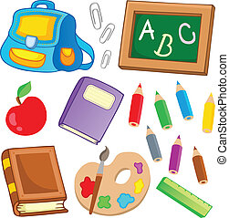 escuela, 2, dibujos, colección