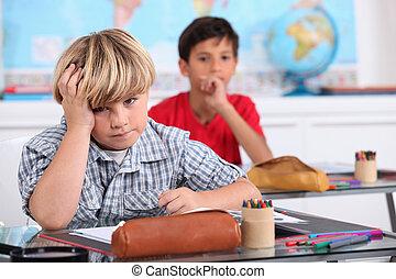 escuela, aburrido, niño