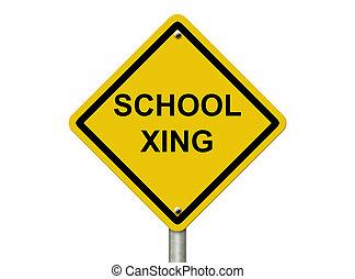 escuela, advertencia, signo paso peatón