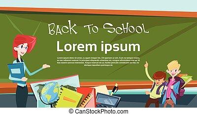escuela, alumnos, espalda, clase, educación, bandera, ...