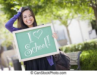 escuela, amor, hembra, carrera, pizarra, estudiante, tenencia, mezclado