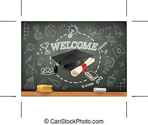 escuela, aprendizaje, infographics