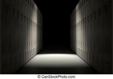escuela, armario, fila, nuevo