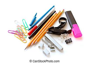 escuela, artículos de escritorio, blanco
