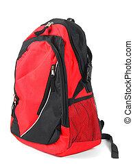 escuela, backpack., blanco, fondo.