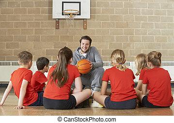 escuela, baloncesto, dar, entrenador, equipo, elemental, charla