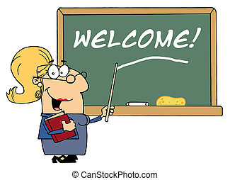 escuela, bienvenida, profesor, señalar