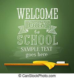 escuela, bienvenida, text., espalda, vector, lugar, pizarra,...