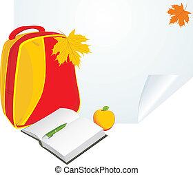 escuela, bloc, mochila