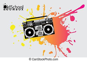 escuela, boombox, viejo