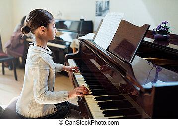 escuela, bueno, juegos, estudiante música, piano
