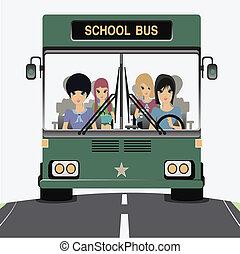 escuela, bus.