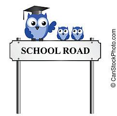escuela, camino, muestra conocida de la calle