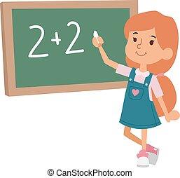 escuela, carácter, primario, vector., educación, niño