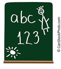 escuela, cartas, primario, números