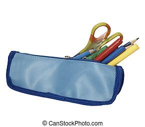 escuela, caso, educación, lápiz