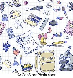 escuela, color, espalda, seamless, plano de fondo, doodles