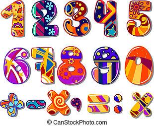 escuela, colorido, caricatura, números