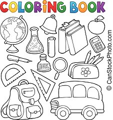 escuela, colorido, objetos, relacionado, 1, libro