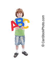 escuela, concepto, cartas, alfabeto, espalda, niño