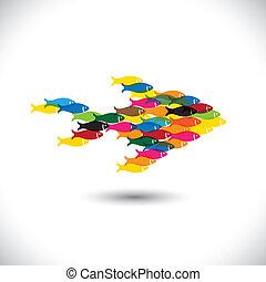 escuela, concepto, colorido, -, juntos, vector, peces, ...
