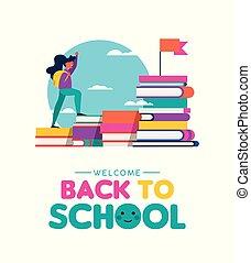 escuela, concepto, espalda, libros, aprendizaje, niño