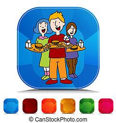 escuela, conjunto, botón, almuerzo, programa, piedra preciosa