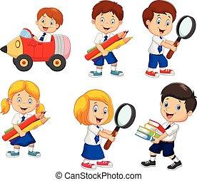 escuela, conjunto, caricatura, colección, niños