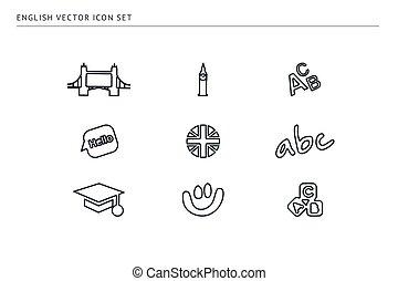 escuela, conjunto, contorno, iconos, education., tema,...