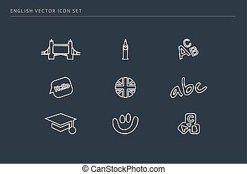 escuela, conjunto, contorno, iconos, tema, vector, educación