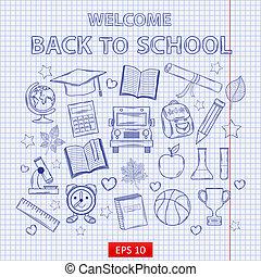 escuela, conjunto, hoja, pedacito, espalda, cuaderno