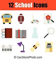 escuela, conjunto, icono