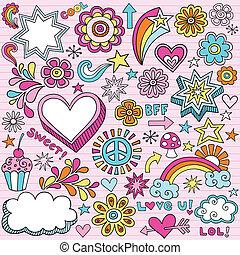 escuela, cuaderno, doodles, vector