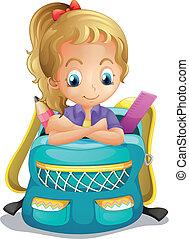 escuela, dentro, niña, schoolbag