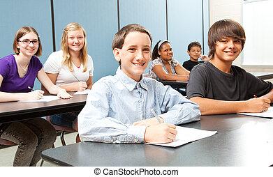 escuela, diverso, niños