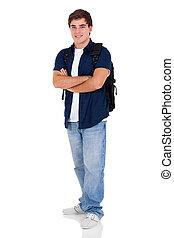 escuela, doblado, joven, brazos, alto, estudiante